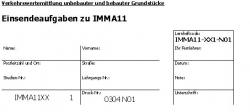 Einsendeaufgaben zu IMMA11