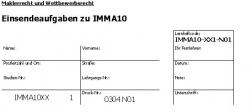 Einsendeaufgaben zu IMMA10