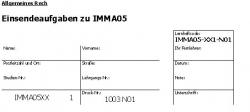 Einsendeaufgaben zu IMMA05, IMMA06, IMMA08, IMMA10, IMMA11, IMMA