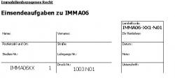 Einsendeaufgaben zu IMMA06