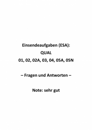 Einsendeaufgaben Fernkurs QUAL (TÜV) - Komplettpaket