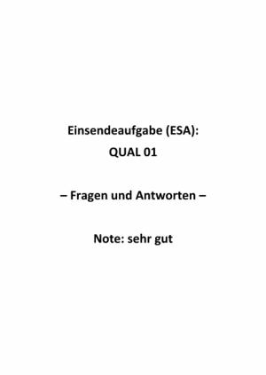 Qualitätsmanagement: Einsendeaufgaben für Fernkurs QUAL 01