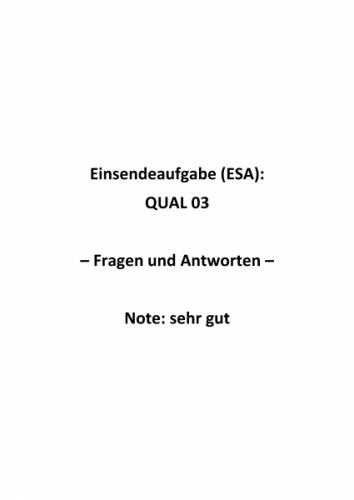 Qualitätsmanagement: Einsendeaufgaben für Fernkurs QUAL 03