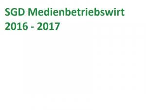 SGD Medienbetriebswirt BIL09-XX1-K07 Einsendeaufgabe 2016-17
