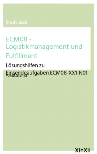 ECM08 - Logistikmanagement und Fulfillment