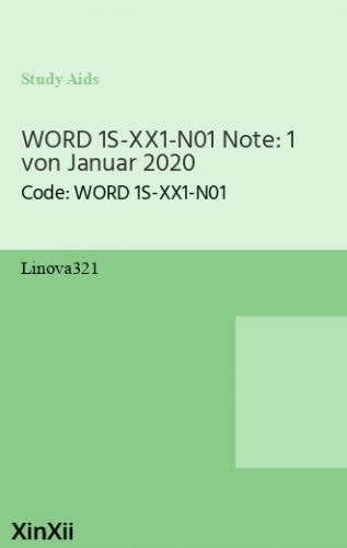 WORD 1S-XX1-N01 Note: 1 von Januar 2020