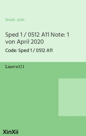 Sped 1 / 0512 A11 Note: 1 von April 2020