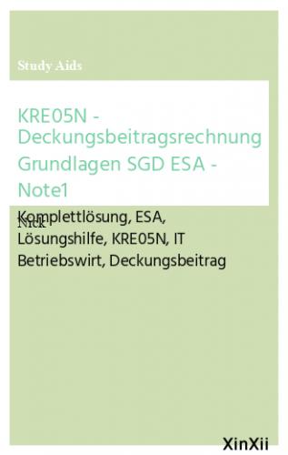 KRE05N - Deckungsbeitragsrechnung Grundlagen SGD ESA  - Note1