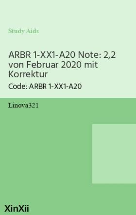 ARBR 1-XX1-A20 Note: 2,2 von Februar 2020 mit Korrektur
