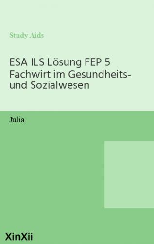 ESA ILS Lösung FEP 5 Fachwirt im Gesundheits- und Sozialwesen