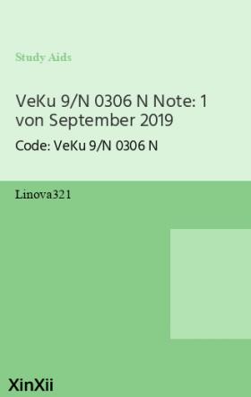 VeKu 9/N 0306 N Note: 1 von September 2019