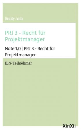 PRJ 3 - Recht für Projektmanager