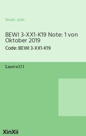 BEWI 3-XX1-K19 Note: 1 von Oktober 2019