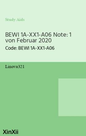 BEWI 1A-XX1-A06 Note: 1 von Februar 2020