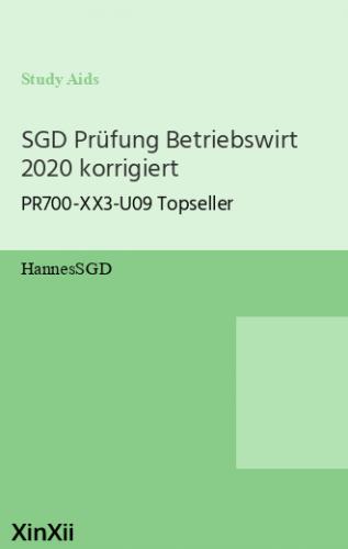 SGD Prüfung Betriebswirt 2020 korrigiert
