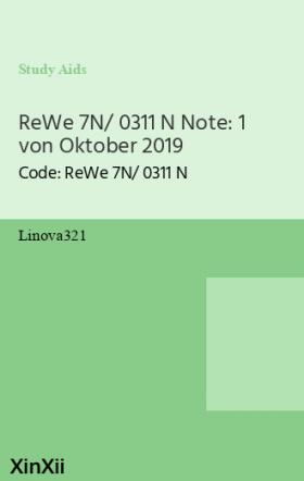 ReWe 7N/ 0311 N Note: 1 von Oktober 2019