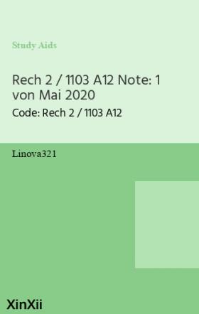 Rech 2 / 1103 A12 Note: 1 von Mai 2020