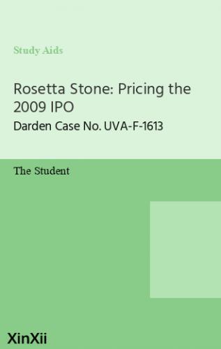 Rosetta Stone: Pricing the 2009 IPO