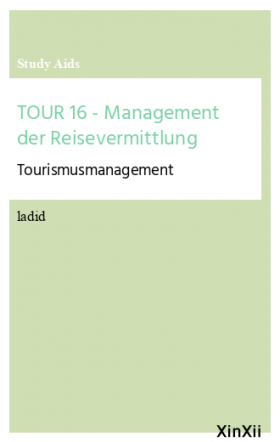 TOUR 16 - Management der Reisevermittlung