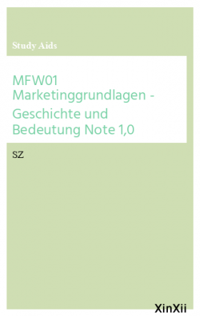 MFW01 Marketinggrundlagen - Geschichte und Bedeutung Note 1,0