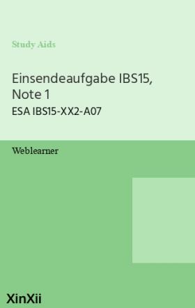 Einsendeaufgabe IBS15, Note 1