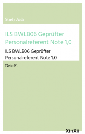 ILS BWLB06 Geprüfter Personalreferent Note 1,0